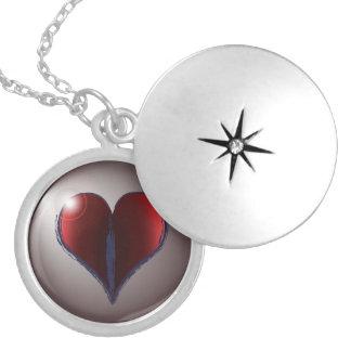 Coração carmesim locket