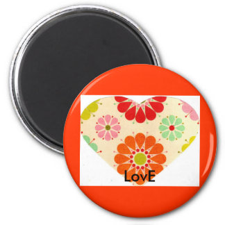 Coração com flores (ímã) imãs de geladeira