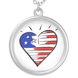 coração como o americano da bandeira bijuteria personalizada