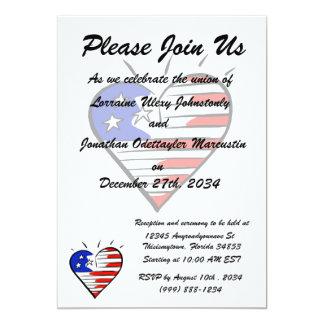 coração como o americano da bandeira convite 12.7 x 17.78cm