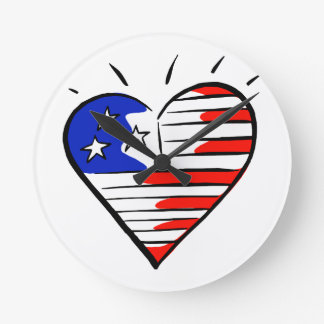coração como o americano da bandeira relógios para paredes
