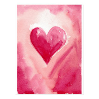 Coração cor-de-rosa cartão postal