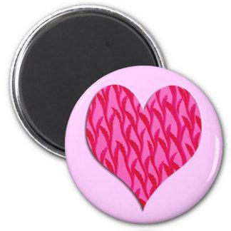 coração cor-de-rosa da videira imãs de geladeira