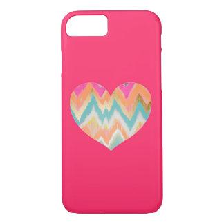 Coração cor-de-rosa de Chevron Capa iPhone 7