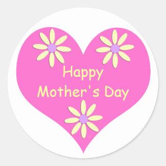 Coração cor-de-rosa do dia das mães e flores adesivo