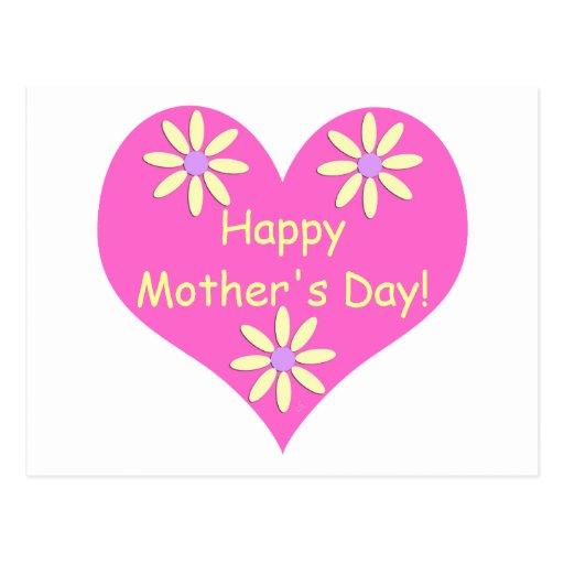 Coração cor-de-rosa do dia das mães e flores amare cartões postais