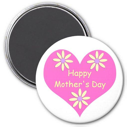 Coração cor-de-rosa do dia das mães e flores amare imãs de refrigerador
