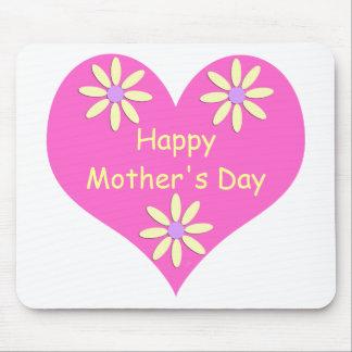 Coração cor-de-rosa do dia das mães e flores amare mouse pad
