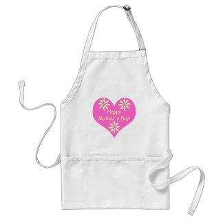 Coração cor-de-rosa do dia das mães e flores avental