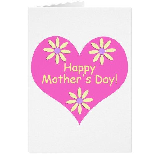 Coração cor-de-rosa do dia das mães e flores cartoes