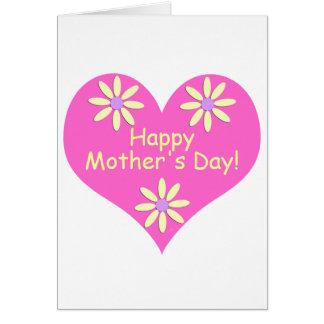 Coração cor-de-rosa do dia das mães e flores cartão comemorativo