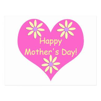 Coração cor-de-rosa do dia das mães e flores cartão postal