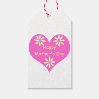 Coração cor-de-rosa do dia das mães e flores