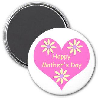 Coração cor-de-rosa do dia das mães e flores ímã redondo 7.62cm