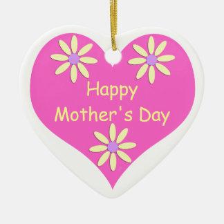 Coração cor-de-rosa do dia das mães e flores ornamento de cerâmica coração