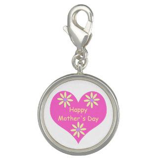 Coração cor-de-rosa do dia das mães e flores photo charm