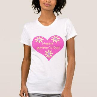 Coração cor-de-rosa do dia das mães e flores tshirts