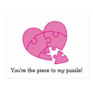 Coração cor-de-rosa do dia dos namorados cartão postal
