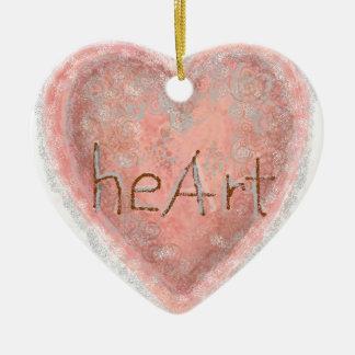 Coração cor-de-rosa do dia dos namorados ornamento de cerâmica coração