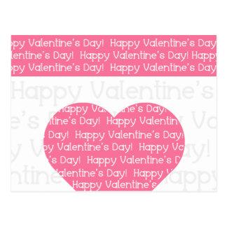 Coração cor-de-rosa do feliz dia dos namorados cartao postal