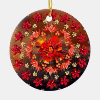 Coração cor-de-rosa do fogo ornamento de cerâmica redondo