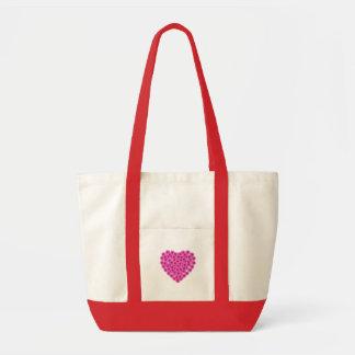 Coração cor-de-rosa do saco das flores sacola tote impulse