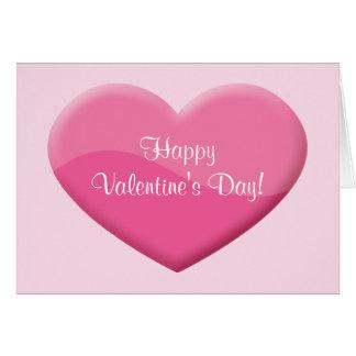 Coração cor-de-rosa grande com feliz dia dos namor cartão comemorativo