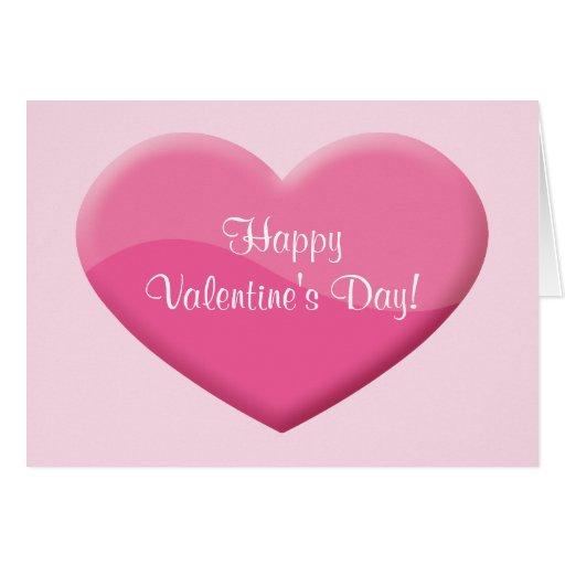 Coração cor-de-rosa grande com feliz dia dos namor cartões