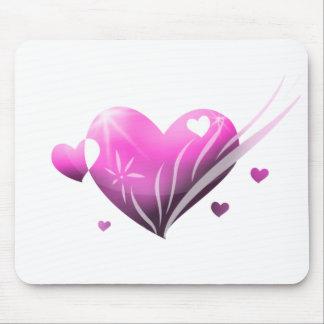 Coração cor-de-rosa Mousepad