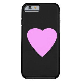 Coração cor-de-rosa no preto capa tough para iPhone 6