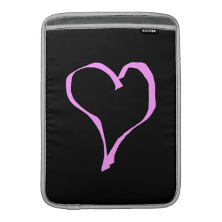Coração cor-de-rosa no preto bolsa para MacBook air