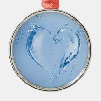 Coração da água azul ornamento redondo cor prata