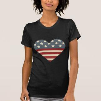 Coração da americana do vintage t-shirt