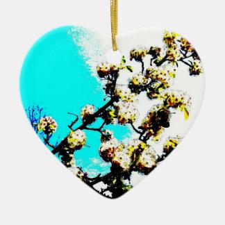 Coração da arte da flor ornamento de cerâmica coração