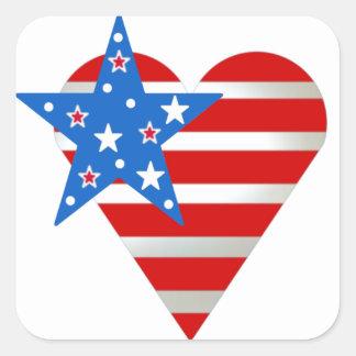 Coração da bandeira americana adesivo quadrado