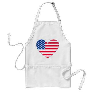 Coração da bandeira americana avental