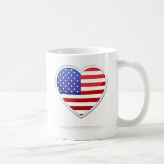Coração da bandeira americana caneca