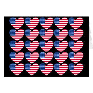Coração da bandeira americana cartão comemorativo