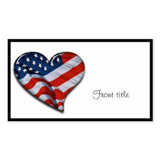 Coração da bandeira americana cartão de visita