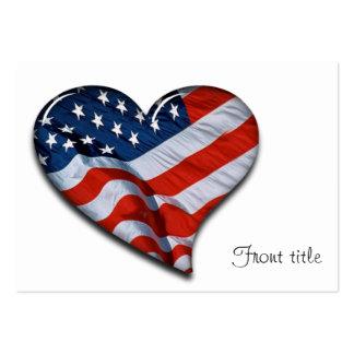 Coração da bandeira americana cartão de visita grande