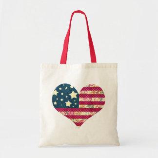 Coração da bandeira americana do chique | sacola tote budget