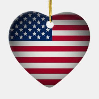 Coração da bandeira americana do OPUS Ornamento De Cerâmica Coração