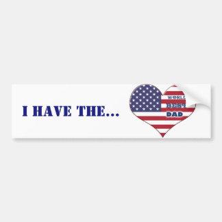 Coração da bandeira americana do pai do mundo o adesivo para carro