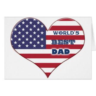 Coração da bandeira americana do pai do mundo o cartão comemorativo