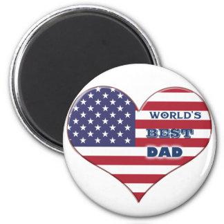 Coração da bandeira americana do pai do mundo o ímã redondo 5.08cm