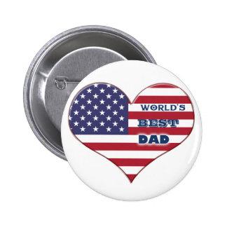 Coração da bandeira americana do pai do mundo o me botons