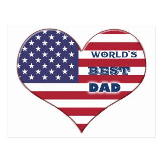 Coração da bandeira americana do pai do mundo o me cartão postal