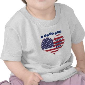 Coração da bandeira americana do pai do mundo o me tshirt