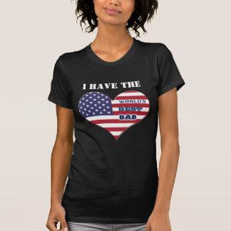 Coração da bandeira americana do pai do mundo o t-shirts