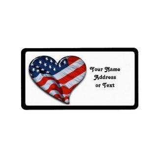 Coração da bandeira americana etiqueta de endereço